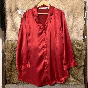 Victoria's Secret Red Satin Sleep Shirt